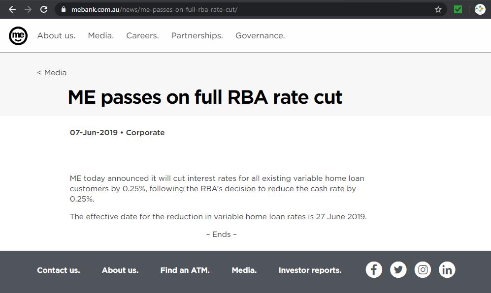 ME Bank passes on full RBA rate cut